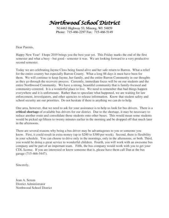Letter to Northwood Families